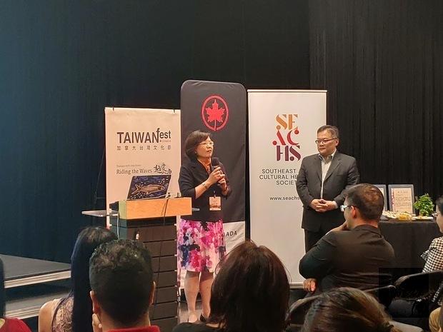 加拿大臺灣文化節記者會陳淑姿致詞。