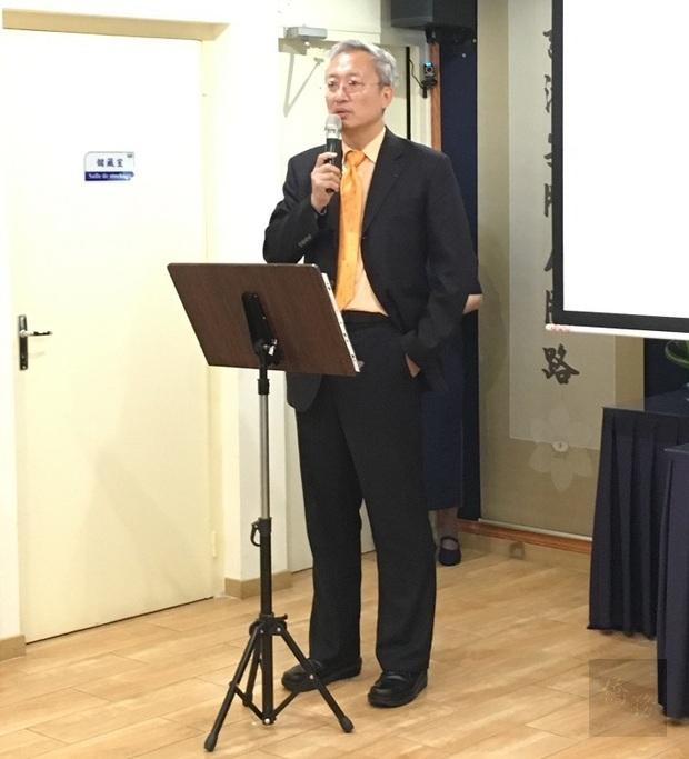 吳志中出席法國慈濟七月吉祥感恩祈福會致詞。