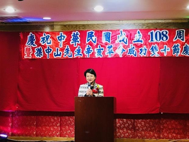 徐儷文感謝費城僑界多年來在費城中華公所的帶領下,對中華民國堅定不移的支持。