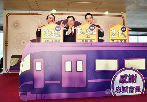Taoyuan Mayor Cheng Wen-tsan (center)/Photo courtesy of CNA