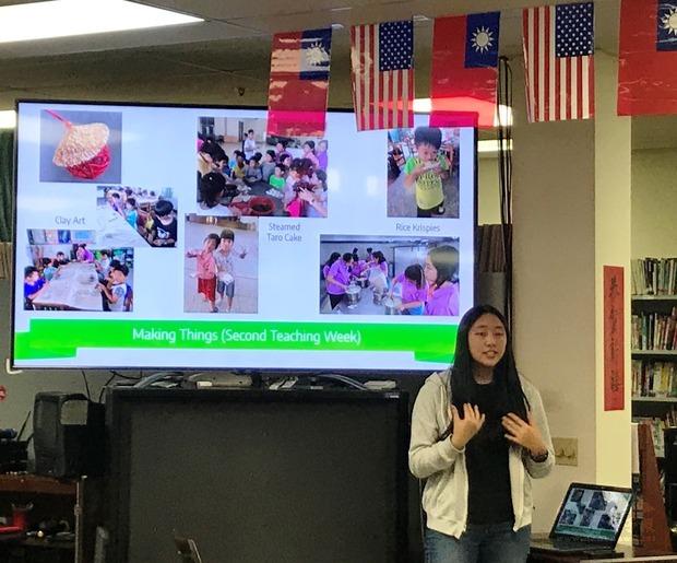 FASCA海外青年文化志工廖頌愛分享返臺教授英文經驗。