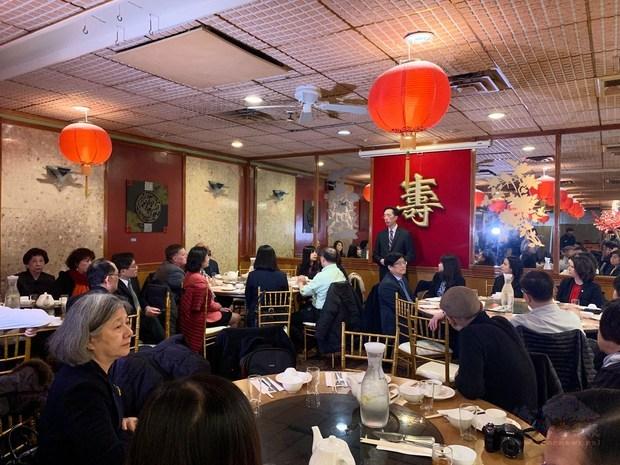 駐波士頓辦事處處長徐佑典在餐會上致辭。