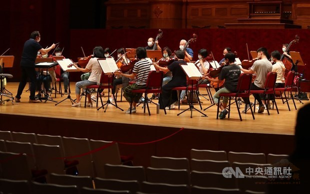 The National Symphony Orchestra in rehearsal Thursday./Pho6o courtesy of CNA