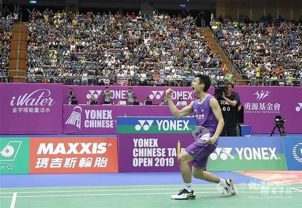 Badminton player Chou Tien-chen, who won the men