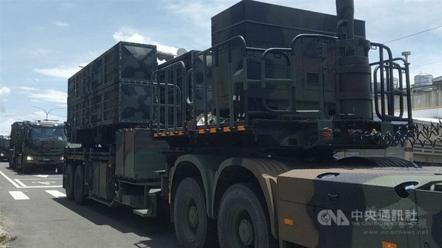 Military vehicles carrying missiles drive through Taitung County Wednesday. / Photo courtesy of CNA