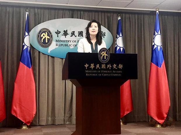Ministry of Foreign Affairs spokeswoman Joanne Ou speaks at a news briefing at the ministry in Taipei on July 7. / Photo courtesy of Taipei Times