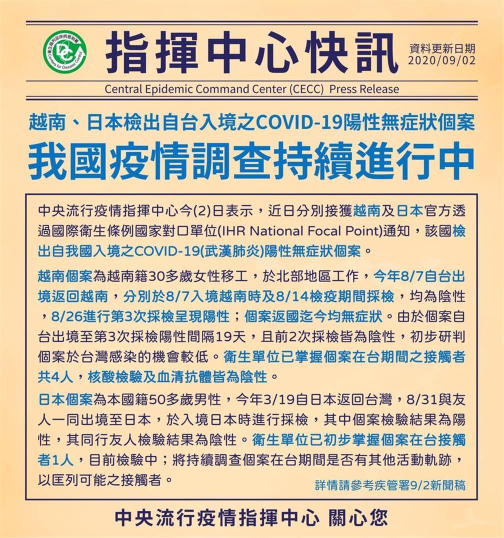 越南、日本檢出自台入境之COVID-19陽性無症狀個案,我國疫情調查持續進行中.jpg