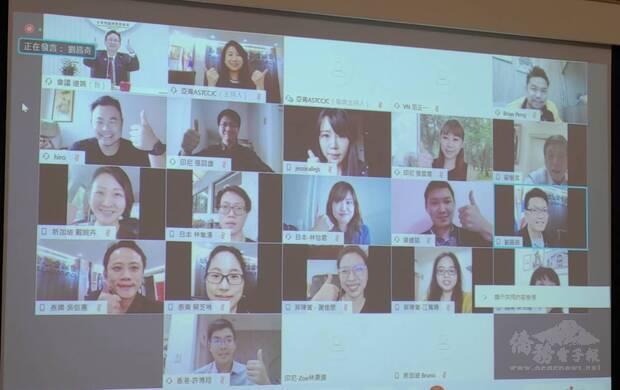 童振源委員長與出席「亞青與委員長有約」線上視訊會議青商合影