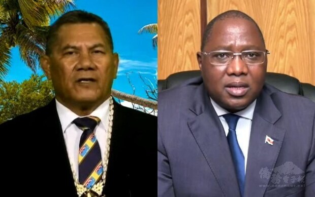 Tuvalu Prime Minister Kausea Natano (left) and his counterpart in Eswatini Ambrose Dlamini. From UN