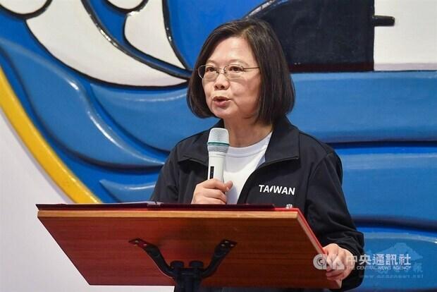 President Tsai Ing-wen speaks at a naval base. CNA photo Sept. 26, 2020