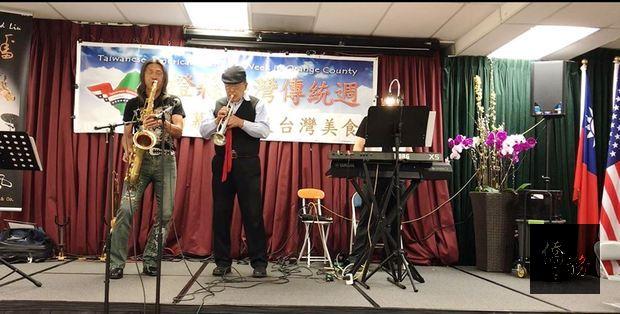 劉邦蓉(左)的薩克斯風、沈定一(中) 的小喇叭、演奏家蘇必用(右)的鍵盤是最佳黃金演奏組合。