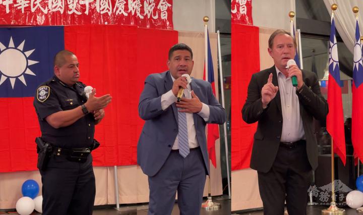 左起,西雅圖警察局長Adrian Diaz、Burien市長Jimmy Matta.、西雅圖港務委員Peter Steinbrueck